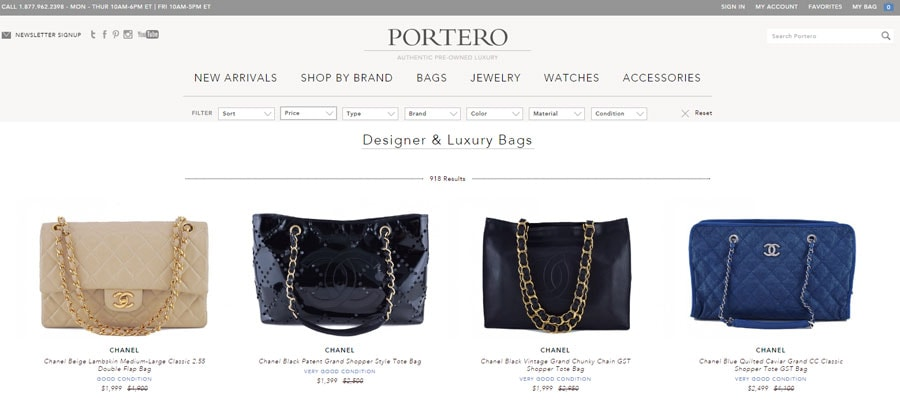Buy authentic designer bags at Portero