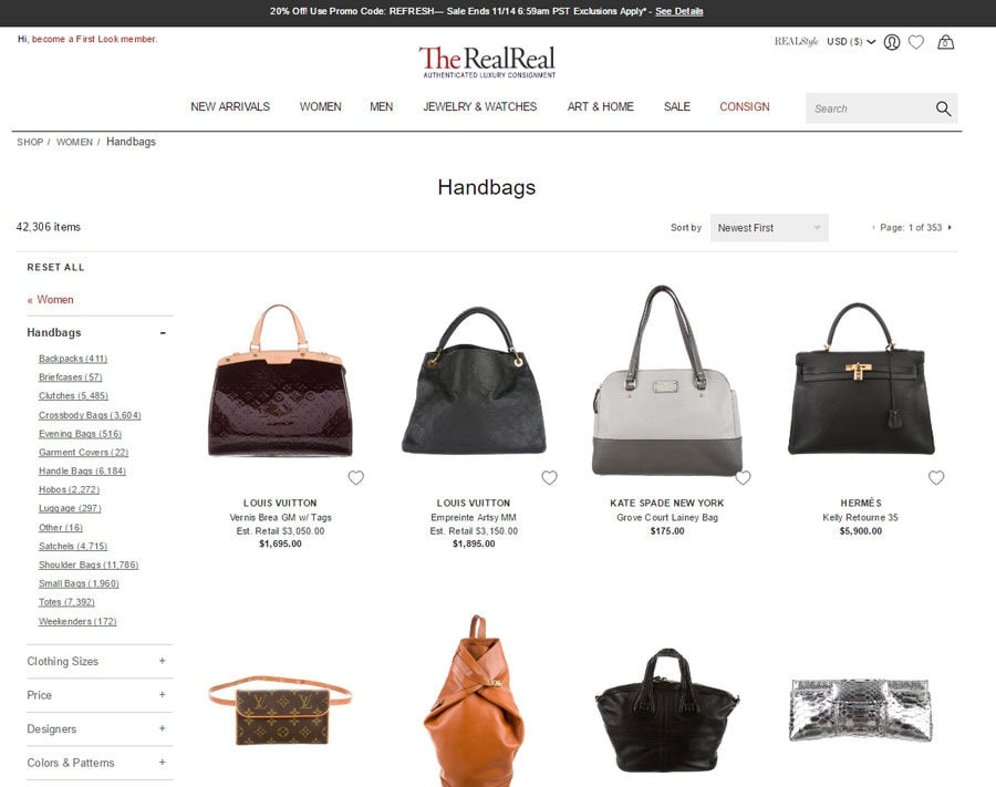 Shop TheRealReal for authentic designer bags online.