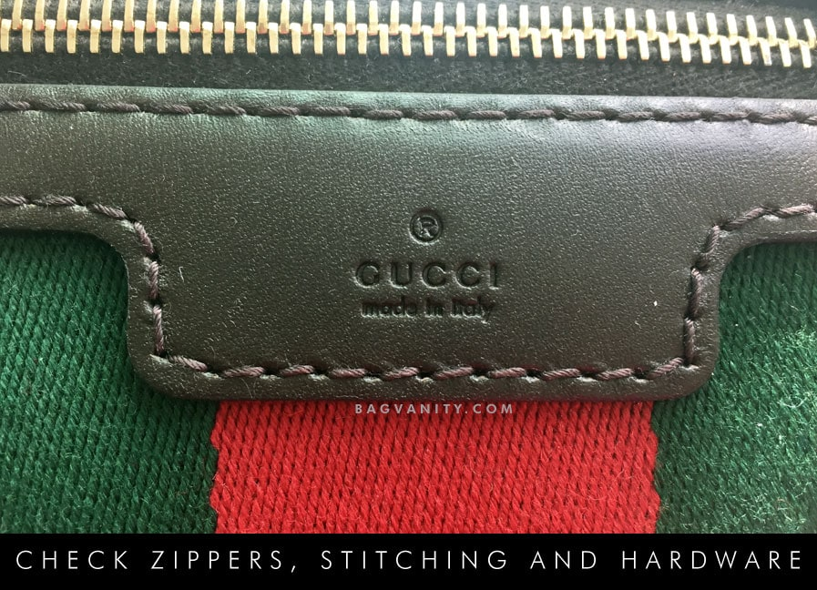Check for YKK zippers and smooth stitching on your authentic Gucci purse.