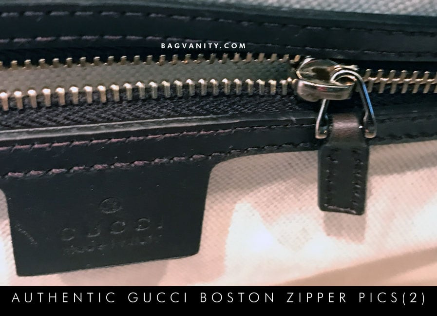 Inside zippers of a Gucci Boston Bag