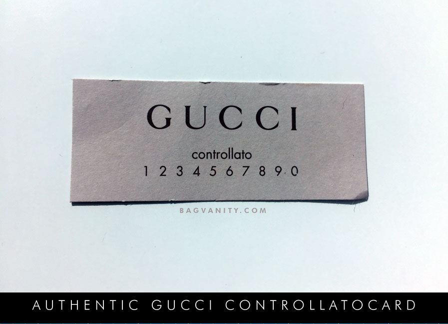 abb86e07829 Gucci has a control system that ensures that all bag purchased by Gucci  customers are authentic. Each handbag is sold with a controllato card (  which is the ...