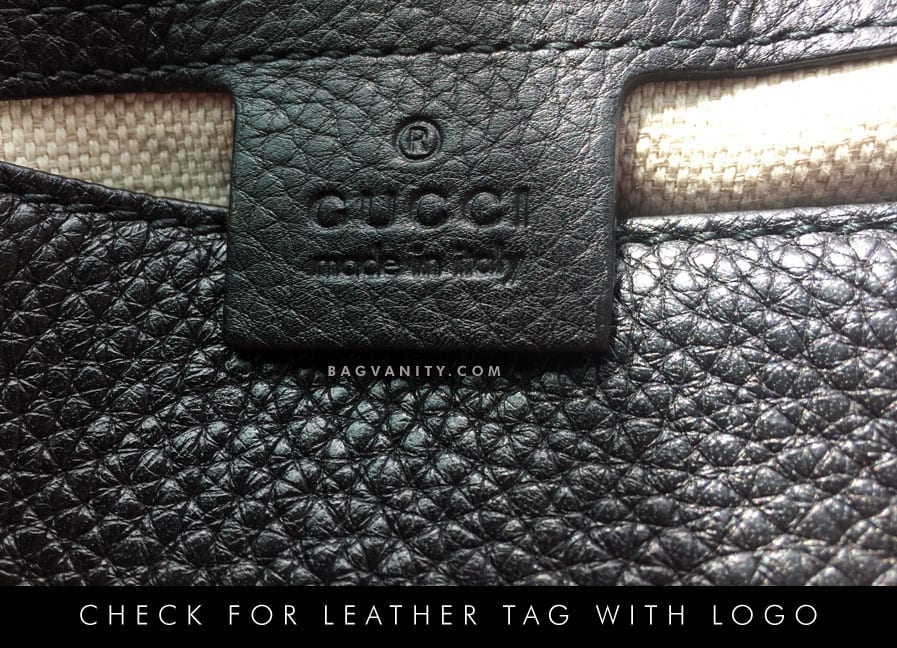 Gucci purses feature the gucci logo and a leather tag with a serial number inside the purse.