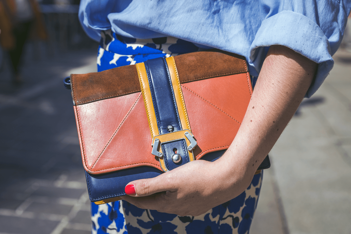 brown and navy outfit and handbag ideas