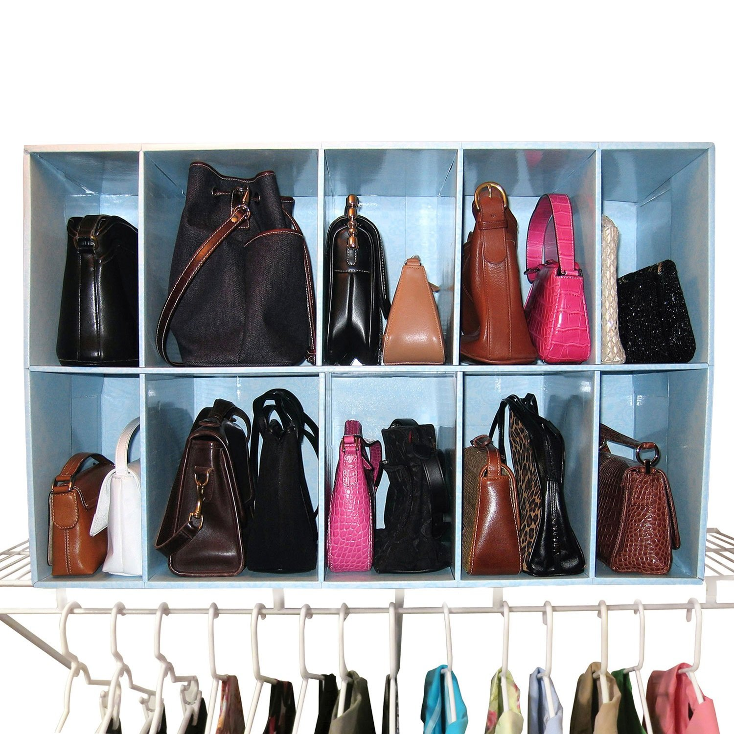 Take a cue from designer boutiques and display your handbags on a high  shelf in your closet. db15d7ce57c7d